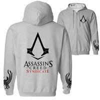 Wholesale assassins creed costumes for sale - Autumn Winter Assasins Creed Hoodie Men Black Cosplay Sweatshirt Costume Fleece Lined Assassins Creed Mens Hoodies Jackets zp003