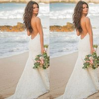 Wholesale Sexy White Dress For Weddings - 2017 Beach Wedding Dresses Backless Lace Spaghetti Straps Mermaid Bridal Gowns New Summer Dress For Brides