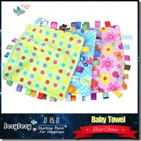 Wholesale Toy Blankets - 7Style 30cm Baby Comforting Taggies Blanket Soft Square Plush Baby Appease Towel Baby Toys Calm Wipes