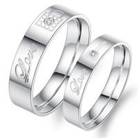 Wholesale White Diamonds Polish - Titanium Steel Couple Rings For Wedding Engagement High Polish Love Lock Design Jewelry Sets Eternal Diamond