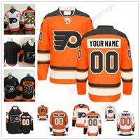 Wholesale Philadelphia Kid - Stitched Custom Philadelphia Flyers mens womens youth kids OLD BRAND White Third 50th Gold Customized Black Orange ice Hockey Jerseys S-4XL