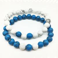 conjuntos de pulseira de pedra azul venda por atacado-2017 nova Atacado Handmade pedra Azul fosco yoga conjunto Buddha Beads Pulseira Natural Pedra Vulcânica Pulseiras de Rocha para Mulheres Dos Homens de Jóias