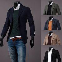 Wholesale Men S Leisure Outfits - Wholesale- 2016 new blazer men Autumn Outfit Knitting Small Suit Men's Cultivate One's Morality Leisure Suit Men's Men's Pure ColorCoat X68