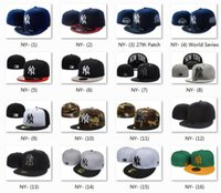 Wholesale White Embroidered Flats - 2017 Wholesale Yankee Fitted Caps Cheap Baseball Cap Embroidered Team NY Letter Size Flat Brim Hat Hiphop Baseball Cap Full Closed