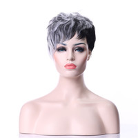 Wholesale Short Gray Wigs - 2 Tones Gray Wig Natural Short Curly Synthetic Hair Wig 2 Colors Available