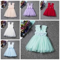 Wholesale Silk Ribbon Flower Buds - kids princess dress 2017 summer lace flower baby girl dresses children tutu skirts top quality pink kids gown dress
