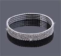 Wholesale Hot Tennis Girl - 4-Row Four Rows Sparkly Crystal Rhinestone Anklet Stretch Cz Tennis Ankle Chain Sexy Anklet Bridal Wedding Accessories for Women Hot Sale