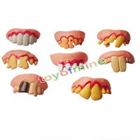 Wholesale Gag Teeth - Wholesale-2016 New Free Shipping Hot Funny Goofy Fake Rotten Teeth Rubber Dentures Good for Costume Parties Gags