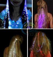 Wholesale Led Light Wigs - Light braids colorful fiber LED light hair clip bride hair accessories Christmas party