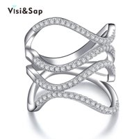 Wholesale Best Gifts Titanium - Visisap White gold color party Rings for women best gifts AAA cubic zirconia bague engagement fashion jewelry bijoux VSR143