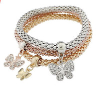 Wholesale chain united jewelry resale online - Europe and the United States foreign trade explosion jewelry jewelry three color suit stretch corn chain diamond butterfly pendant bracele