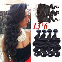 birmanischen körperwellenhaar großhandel-4 Bundles mit Frontal Burmese Virgin Hair Body Wave mit Lace Frontal Closure 13 x 6 gebleichte Knoten FDSHINE
