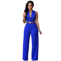 ingrosso moda pantaloni grandi legged-12 colori moda grandi donne senza maniche tute maxi con cintura ampia gamba tuta macacao pantaloni lunghi eleganti tute
