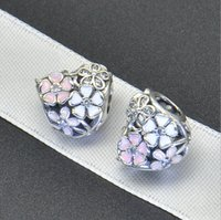 Wholesale Flowers Factory - Factory direct Europe spring new paint flowers heart-shaped Pan-do-ra beads 925 sterling silver jewelry accessories