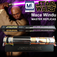 Wholesale Star Electronics - MR Star Wars Mace Windu metal FX Lightsaber MASTER REPLICAS Genuine toys Flash Sword Electronic LED Lightsaber purple Sound Rare