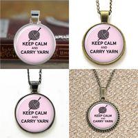Wholesale Yarn Bracelets - 10pcs Keep calm and carry yarn Knitting Glass Photo Necklace keyring bookmark cufflink earring bracelet