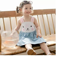 Wholesale Choose England - 2017 Summer new girls pure cotton suspender bunny dress baby girl rabbit slip denim blue princess sleeveless dress for 2-8years choose size