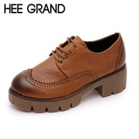 Wholesale Three Colors Leather Shoes - Wholesale-HEE GRAND Women Shoes Thick Heel Ladies Martin Boots Lace-up Three Colors Choice Boots for Women Drop Shipping XWX3564