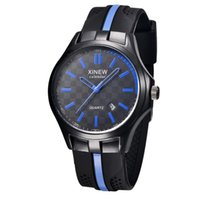 Wholesale xinew watches for sale - XINEW Men s Rubber Strap Military Watches Mens Luxury Steel Dial Analog Quartz Wrist Watch Male Hours Silicone Sports Clock Zer