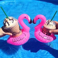Wholesale Key Floats Wholesale - Inflatable Toy Beach Floating Flamingo Drink Can Key Wallet Cellphone Holder Buoyancy Float for Gopro Swimming Pool Water Fun Swim