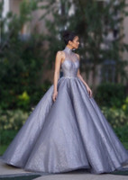 Luxury Crystal Prom Dresses High Neck Floor Length See Through Back Party Gowns Pleat Satin Long Evening Wear Ball Gown For Women