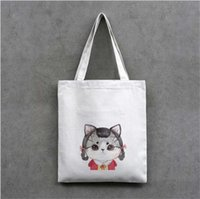Wholesale Korean Tote Shoulder - 2017 New Korean Fashion Canvas bag environmental protection shopping bags cute cat candy bag single shoulder bags straw bag