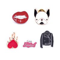 Wholesale Sexy Cowboys Clothing - Wholesale- Colorful Enamel Pins Set Sexy Red Lip Bulldog Black Jacket Cowboy Heart Badge Cartoon Brooches Women Girl Clothing Accessories