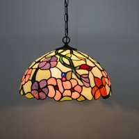 Wholesale Vintage Flower Lamp - FUMAT European Pendant Light Vintage Classic Tiffany Restaurant Suspension Lightings Stained Glass Little Flowers lights Lamp