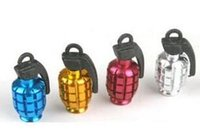 Wholesale Metal Grenade Design Car Motorcycle - black  gold  red  silver  blue Free Shipping By DHL Car Motorcycle Bike Metal Grenade Design Tire Tyre Valve Dust Valve Caps
