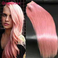 Glamorous 3Bundles Cheveux humains brésiliens Cheveux droaux Cheveux ondulés Rose Extensions de cheveux New Fashion 12-30In peruana Indian Malaysian Pink Hair Weft