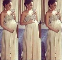 Wholesale pregnant woman art - Long Maternity Prom Dresses 2017 For Pregnant Woman A Line Beaded Top Sweetheart Floor Length Chiffon Formal Evening Gowns