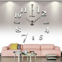 Wholesale Large Number Stickers - 3D Wall Clock Large Mental DIY 3D Mirror Numbers Acrylic Sticker Home Decor Wall Clock Creative Swiss Movement Wall Clocks for Living Room