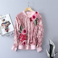 Wholesale European Fashion Industry - European and American women's wear 2017 Autumn new fund Long-sleeved stereo-order heavy industry Pink jacket