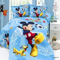 Wholesale Children Single Duvet Cover - Wholesale-mavelous 3d mickey and minnie children bedding set duvet cover bed sheet pillow case twin single size for boys&girls