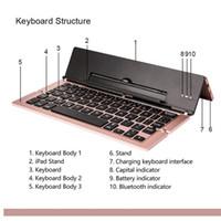 dokunmatik yüzey usb kablosu toptan satış-Katlanabilir Bluetooth Klavye ile F18 Evrensel Taşınabilir Bluetooth 3.0 Kablosuz Klavye Kickstand Tutucu Apple iPad iPhone IOS Için,