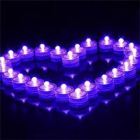 sub té al por mayor-Romántico Luces de vela subacuáticas Sumergible Impermeable led Luces de té Luces sub Luces Funciona con pilas Lámpara de té LED Luz nocturna Color blanco