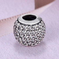 Wholesale Clear Glass Cube Beads - Authentic 925 Sterling Silver Bead Charm Pave Clear Ball With Full Crystal Beads Fit Women Pandora Bracelet Bangle DIY Jewelry HKA4014