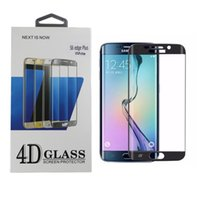 Wholesale six plus - HotFor Samsung Galaxy S6 Edge Plus SM-G938 PET Plating Protective Film Full Cover Tempered Glass Screen Protector 9H 4D Arc 0.26mm Six Color