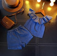 Wholesale T Shirt Fabric Wholesale - 2pcs set gilrs fashion suits summer girls Denim fabric sleeveless tops T shirts+girls shorts baby girls set kids clothes outfit set suit