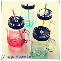 Wholesale Glass Bottles For Drinks - My Personality Gradient Color Mason Jar Bottle For icecream Fruit Installed Cold Drink Infusion Colored Glass Water Bottles