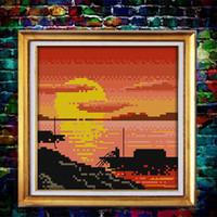 pinturas de tela del paisaje al por mayor-Volver a casa puesta del sol mar barco paisaje pinturas contadas impresas en tela DMC 11CT 14CT kits de punto de cruz bordado de costura Conjuntos