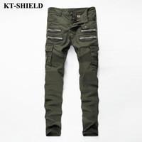 mens fashion green jeans großhandel-Großhandels- 2017 Mens Skinny Biker Jeans Armee-Grün-Marken-Art- und Weisedenim-Hosen-Taschen-Fracht-Pant Men Slim Fit Jeans Baumwolle Hohe Qualität