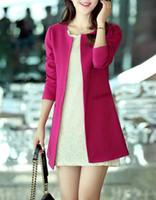 blazer feminino achat en gros de-Livraison Gratuite Femmes Long Blazers Mode Printemps Automne Mince O-cou Simple Poitrine Poche Outwear Dames Blaser Feminino