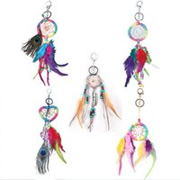 Wholesale Peacock Feather Charms - Handmade Keychain with Peacock Feathers Dreamcatcher Car Bag Car Charm Pendant Hanging Decoration Crafts Colorful Dream Catcher Gift