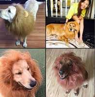 Wholesale Lion Wigs Dogs - Hot Pet Hair Ornaments Lovely Funny Lion wig 4 color collocation dog hats Free shipping wholesale 056