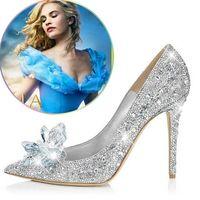 plataformas de sapatos diamantes venda por atacado-Com Caixa Mulheres sapatos de salto alto branco Cinderela sapatos sexy lady plataformas de cristal de prata Glitter diamantes sapatos de noiva bomba de festa de salto