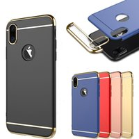 Wholesale Edge Protector Silver - Ultra thin protector PC + Electroplating 3 in 1 case shockproof cell phone cover for iPhone X 6 6s 7 8 Plus Samsung Galaxy S7 S8 edge Note 8