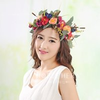 Wholesale Weaved Hair Bands - Grils garlands bride garlands high grade camellia band rattan weaving headdress tourism photography hair accessories classic garlands T0639