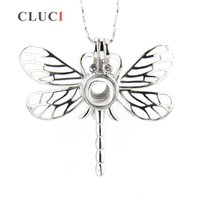 Wholesale Dragonfly Silver - Hot Sale Silver plated Dragonfly Shape Cage Pendant 5pcs 35.6*39.6*11.5mm
