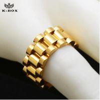 anel de ligação de aço inoxidável venda por atacado-Luxo 24 K banhado a ouro clássico homens anéis de Aço Inoxidável Anel de Ligação de Ouro Hip hop Mens Watchband Estilo Presidente homens anel relógios banda anel